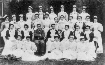 The Matron, Miss Mary Mocatta and staff circa 1897